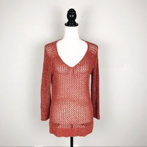 Lucky Brand Orange Knit Long Sleeve Sweater